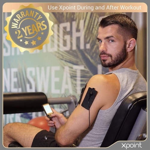 Xpoint Black & Gold Luxury TENS EMS Unit Muscle Stimulator - Electrode Pad Pain Relief Device Perspective: back