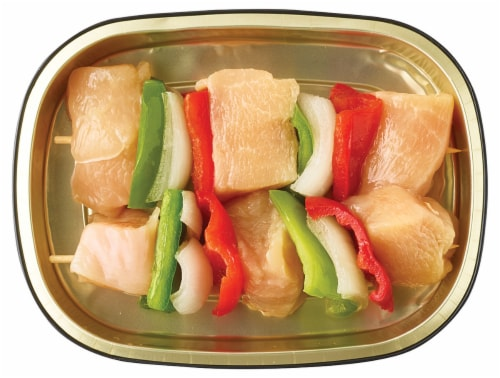 Home Chef Chicken Kabobs with Onion & Bell Pepper Perspective: back