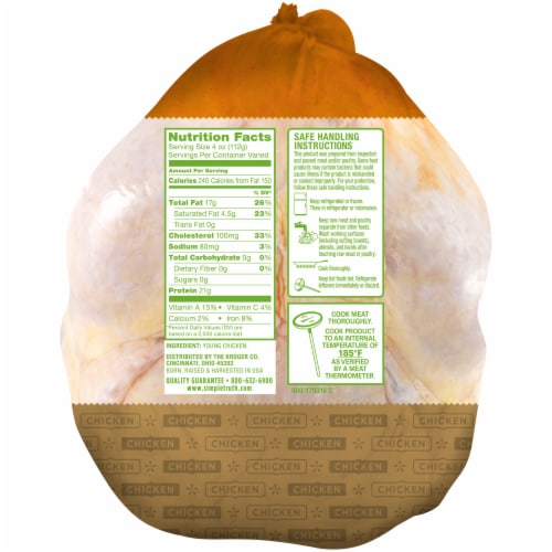 Simple Truth™ Natural Whole Chicken Perspective: back
