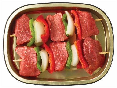 Home Chef Beef Kabobs with Onion & Bell Pepper Perspective: back