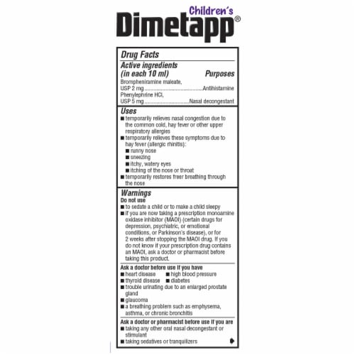 Dimetapp Children's Cold & Allergy Liquid Antihistamine & Decongestant Perspective: back