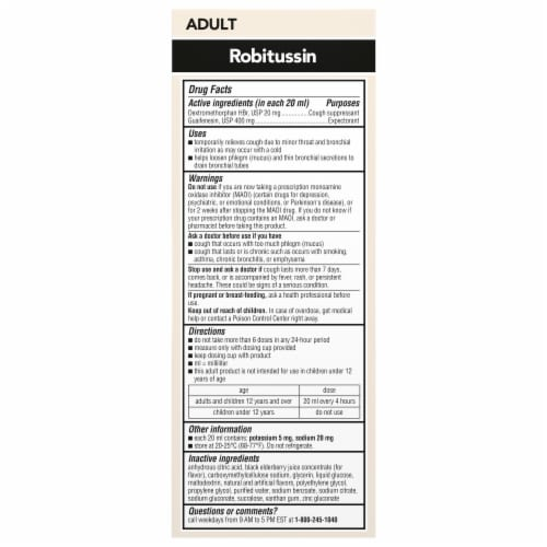 Robitussin Elderberry Maximum Strength Adult Cough+Chest Congestion DM Cough Syrup Perspective: back