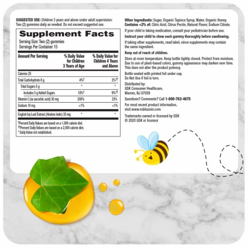 Robitussin Naturals Children's Ivy Leaf with Honey Cough Relief Gummies Perspective: back