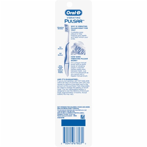 Oral-B Pulsar Soft Battery Powered Toothbrushes Perspective: back