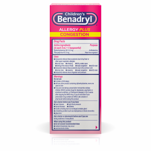 Children's Benadryl Allergy Plus Congestion Relief Grape Flavored Liquid Medicine Perspective: back