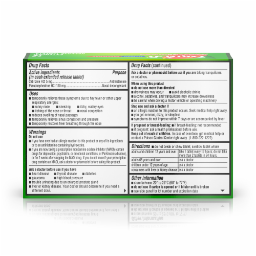 Zyrtec-D 12-Hour Allergy & Congestion Relief Tablets Perspective: back