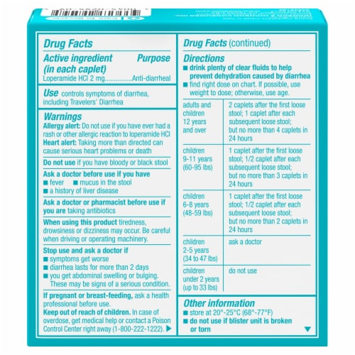 Imodium A-D Anti-Diarrheal Caplets 2mg 6 Count Perspective: back