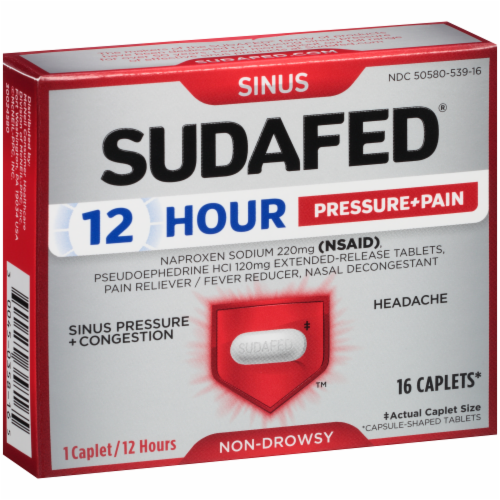Sudafed 12-Hour Non-Drowsy Sinus Pressure + Pain + Congestion Relief Caplets Perspective: back