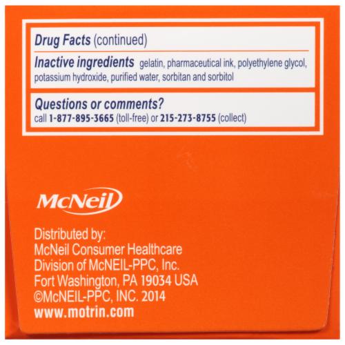 Motrin Ibuprofen Liquid Gels 200mg Perspective: back