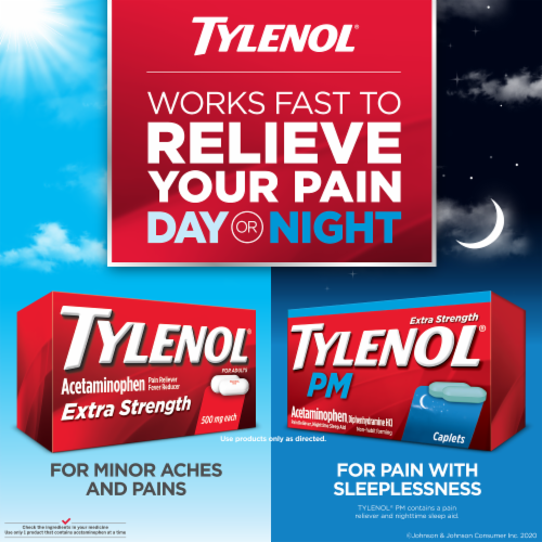Tylenol PM Extra Strength Pain Reliever & Sleep Aid Caplets Perspective: back