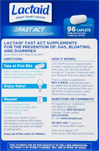 Lactaid Fast Act Lactase Enzyme Supplement Perspective: back