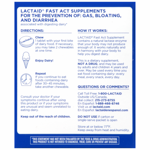 Lactaid Fast Act Vanilla Chewables Perspective: back