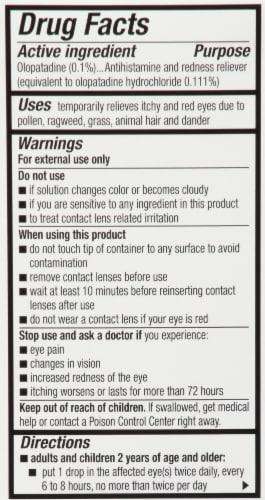 Pataday® Twice Daily Eye Allergy Itch & Redness Relief Eye Drops Perspective: back