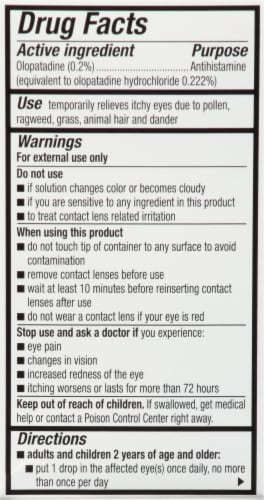 Pataday® Once Daily Eye Allergy Itch Relief Eye Drops Perspective: back