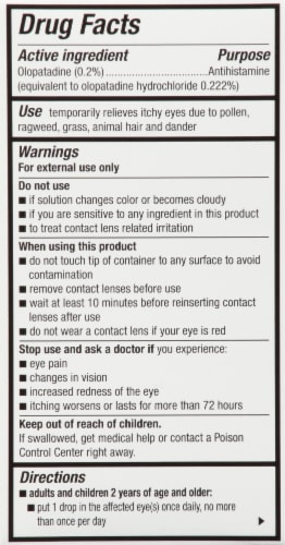 Pataday Once Daily Allergy Relief Eye Drops Twin Pack Perspective: back