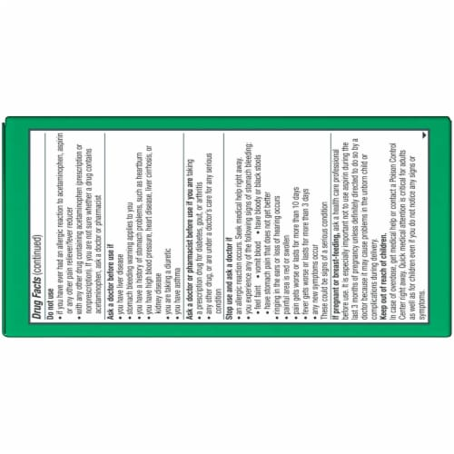 Excedrin Extra Strength Caplets 100 Count Perspective: back