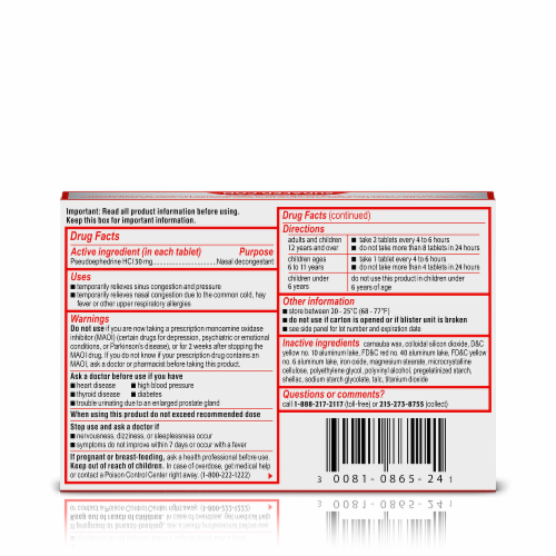 Sudafed Non-Drowsy Sinus + Congestion Maximum Strength Tablets Perspective: back