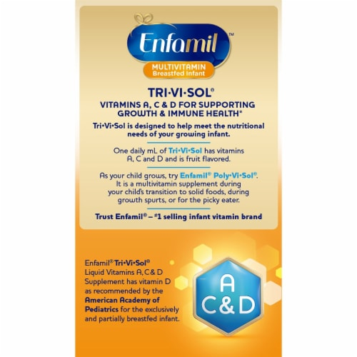 Enfamil Tri-Vi-Sol Liquid Multivitamin Supplement Drops Perspective: back