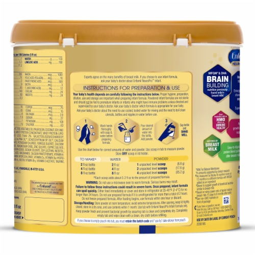 Enfamil Neuropro Non-GMO Infant Formula Powder with Iron Perspective: back