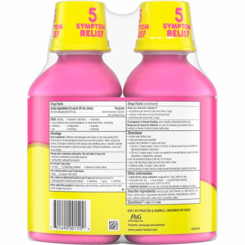 Pepto-Bismol 5 Symptom Relief Liquid Twin Pack Perspective: back