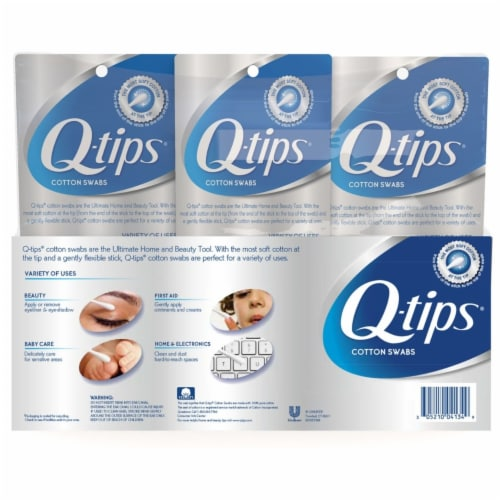 Q-tips Cotton Swabs (625 Count, 2 Pack; 500 Count, 1 Pack) Perspective: back