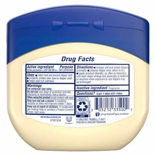 Vaseline Baby 100% Pure Petroleum Jelly Perspective: back