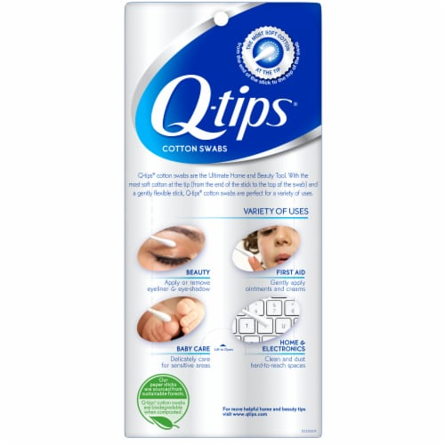 Q-tips Original Cotton Swabs Perspective: back