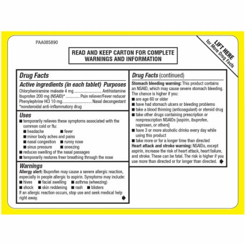 Advil Multi-Symptom Cold & Flu Coated Tablets 200 mg Perspective: back