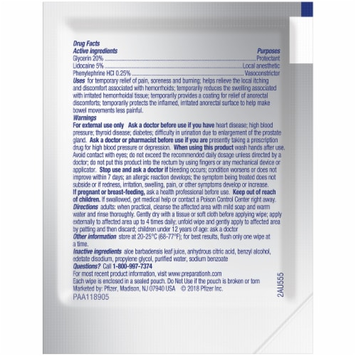 Preparation H Rapid Relief Lidocaine Totables Hemorrhoidal Flushable Wipes Perspective: back