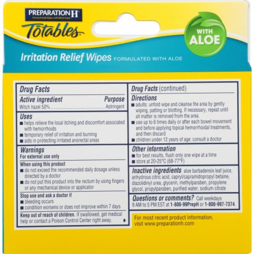 Preparation H Totables Flushable Medicated Hemorrhoidal Wipes Perspective: back