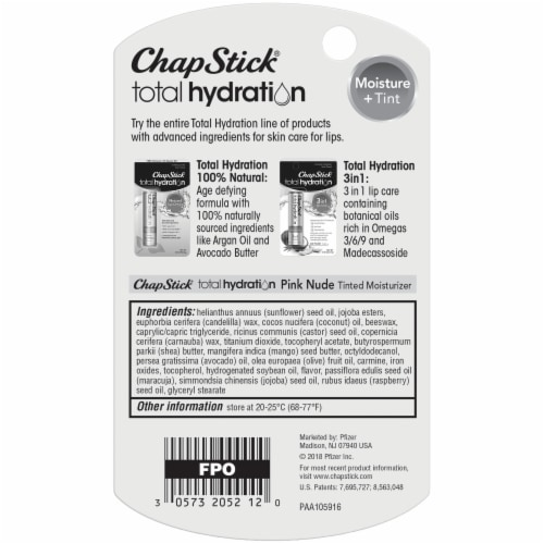 ChapStick Total Hydration Moisture + Tint Pink Nude Lip Balm Perspective: back