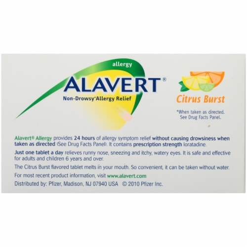 Alavert 24-Hour Non-Drowsy Allergy Relief Citrus Burst Orally Disintegrating Tablets Perspective: back