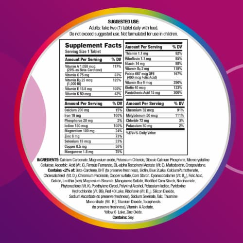Centrum® Women Multivitamin/Multimineral Supplement Tablets Perspective: back