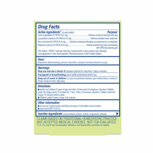 Boiron Gasalia Gas Relief Tablets Perspective: back
