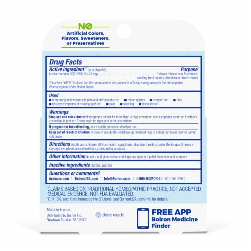 Boiron Arnica 30X Pain Relief Pellets Perspective: back