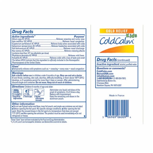Boiron ColdCalm Kids Single-Use Liquid Doses, 30 Count Perspective: back