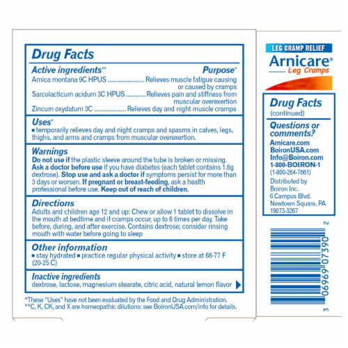 Boiron Arnicare Leg Cramps Homeopathic Tablets Perspective: back