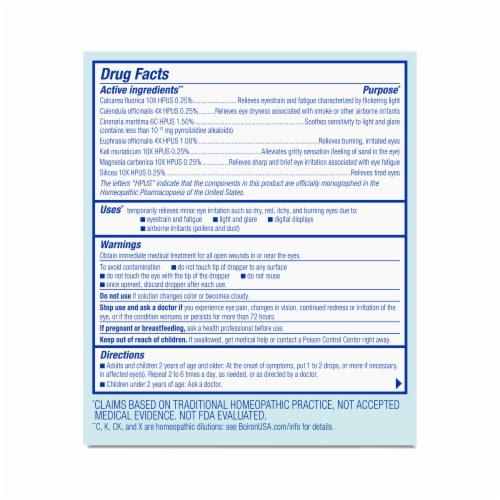 Boiron® Optique 1® Eye Irritation Relief Homeopathic Eye Drops Perspective: back
