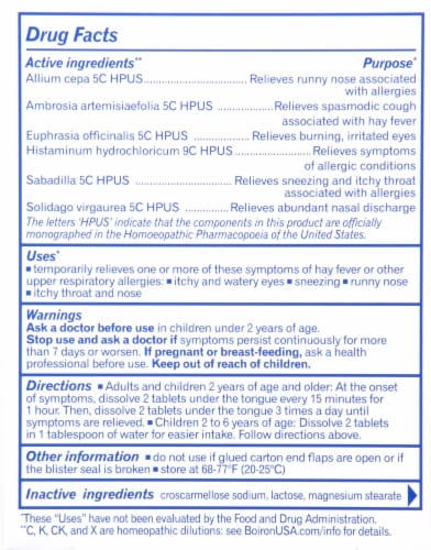Boiron® RhinAllergy® Allergy Relief Tablets Perspective: back