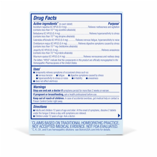 Boiron StressCalm™ Meltaway Tablets Perspective: back
