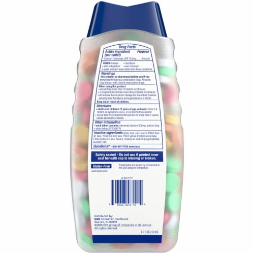 Tums Assorted Fruit Antacid Chewable Tablets Perspective: back