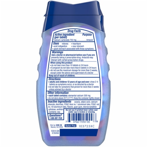 Tums Smoothies Berry Fusion Antacid Chewable Tablets Perspective: back