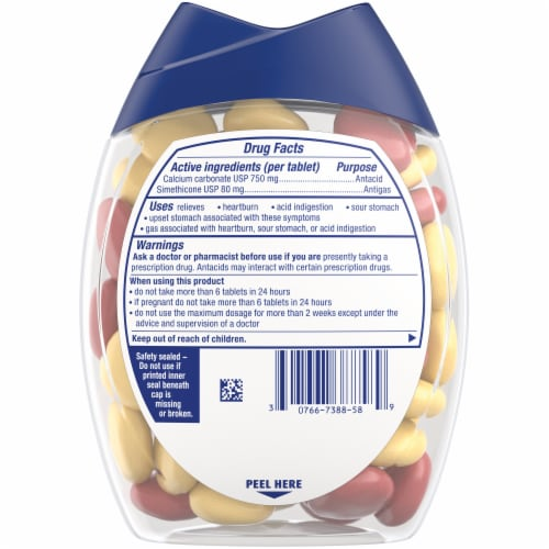Tums with Gas Relief Lemon & Strawberry Chewy Bites Antacids Perspective: back