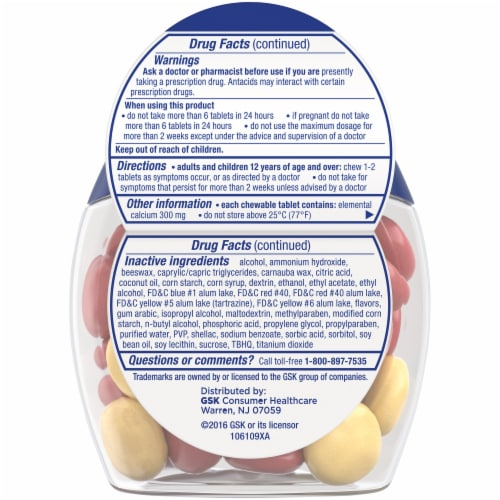 Tums with Gas Relief Lemon & Strawberry Chewy Bites Antacid Chewable Tablets Perspective: back