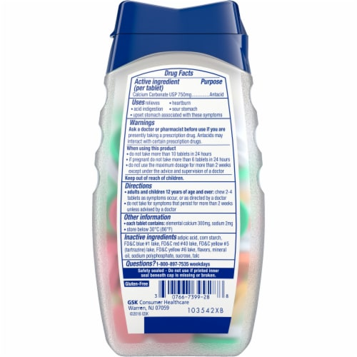 Tums Extra Strength Assorted Fruit Antacid Chewable Tablets Perspective: back