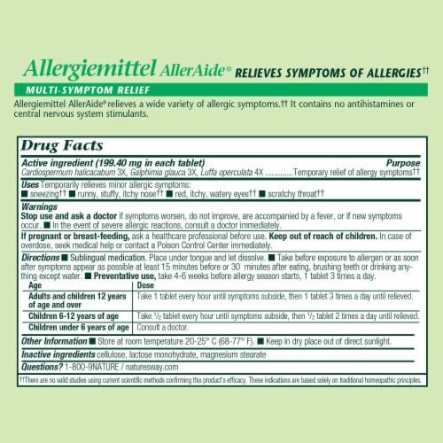 Boericke & Tafel Allergiemittel AllerAide Allergy Relief Tablets Perspective: back