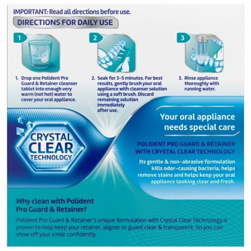 Polident ProGuard & Retainer Antibacterial Daily Cleanser Tablets Perspective: back