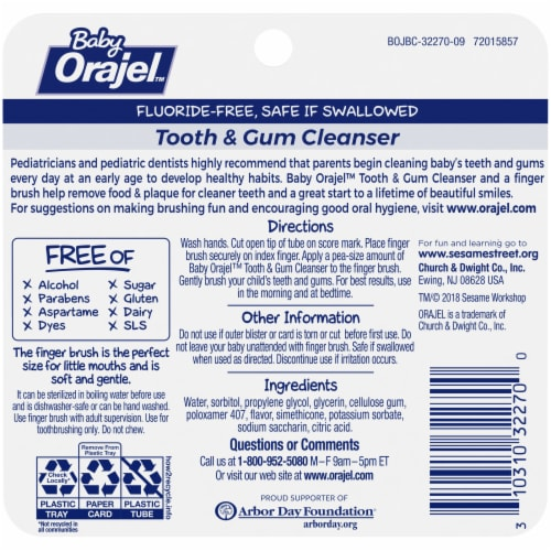 Orajel Baby Fruity Fun Tooth & Gum Cleanser Perspective: back