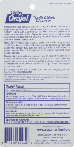 Orajel Baby Tooth & Gum Bright Banana Apple Cleanser and Toothbrush Perspective: back