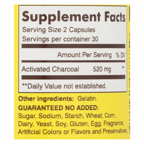 Mason Natural Activated Vegetable Charcoal Dietary Supplement  - 1 Each - 60 CAP - Pack of 3 Perspective: back